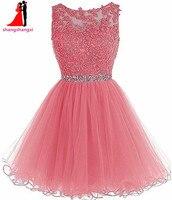 ショートウエディングドレスホームカミングのドレス女の子のための2018安いプラスサイズアップリケビーズボールガウンパーティーカクテルvestidosデ·フェスタ9