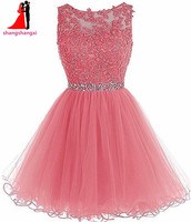 Many Colors Short Prom Dresses 2017 Cheap Plus Size Appliques Beads Ball Gown Party Homecoming Dress