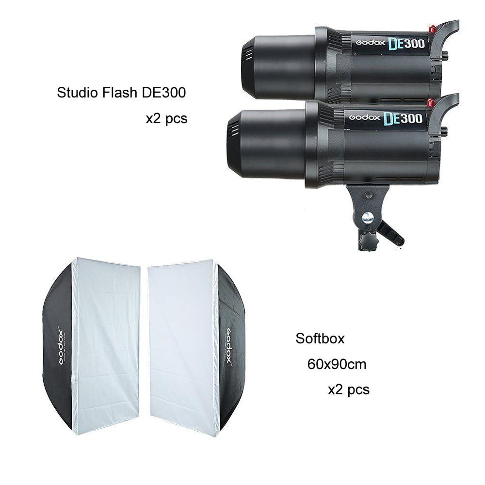 2x Godox DE300 Studio Flash + 60x90cm Softbox Kit софтбокс greenbean gb gfi 2x3 60x90cm