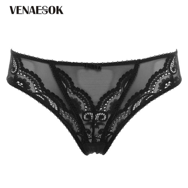 eba7ee1c157 New Fashion Black Low-rise Panty Plus Size XL L Sexy Underwear Transparent Panties  Women
