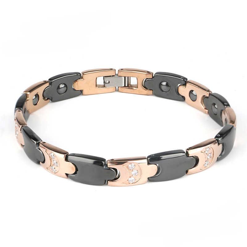 Biżuteria bransoletka męska Mix czarna róża złoto Bio zdrowie ceramiczna bransoletka dla kobiet mężczyzn biały kamień energia bransoleta tytanowa bransoletki