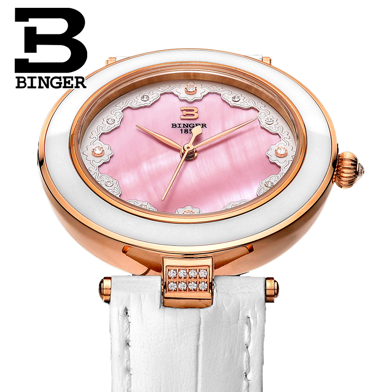 Creatived Lace Flower Pink Shell Watches Women Elegant Ceramic Frame Leather Strap Wrist watch Quartz Crystals Watch WaterproofCreatived Lace Flower Pink Shell Watches Women Elegant Ceramic Frame Leather Strap Wrist watch Quartz Crystals Watch Waterproof