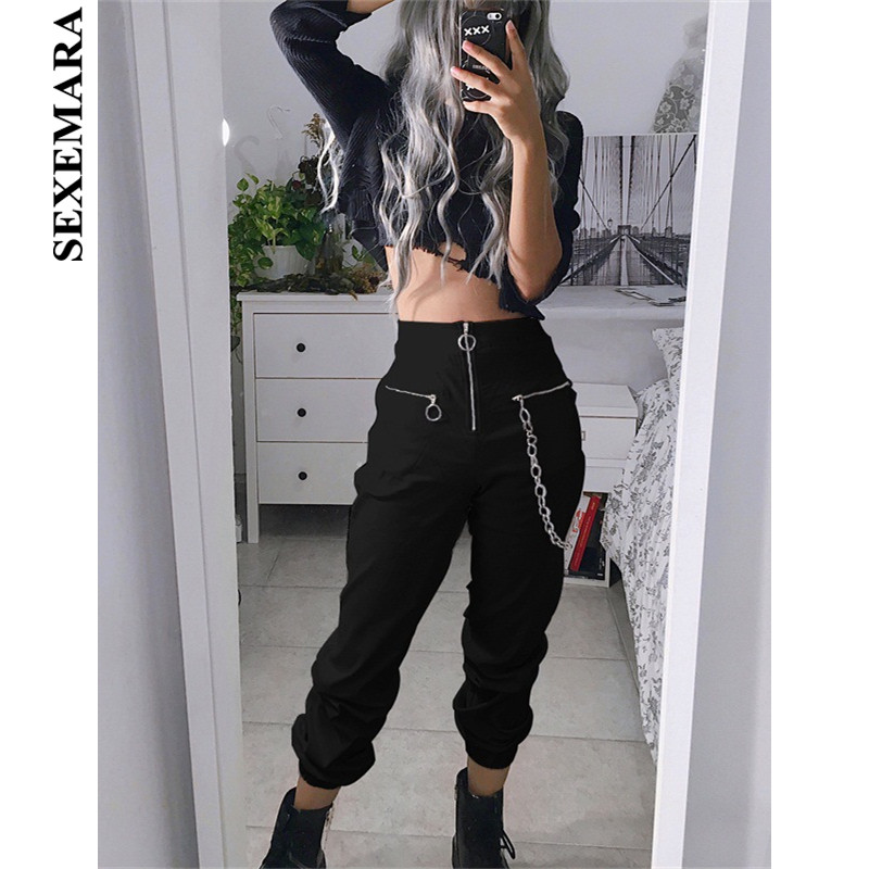 BOOFEENAA Black High Waist Zippers Harem Pants Women Joggers Harajuku Loose Trousers with Chain Streetwear Sweatpants C80-AF00 plus size short overalls
