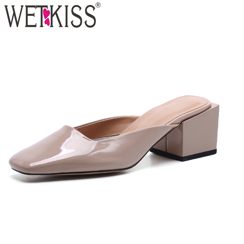 WETKISS Summer Thick High Heels Ladies Slippers Strange Style Genuine Leather Slides Footwear 2018 New Fashion Women Mules Shoes цена