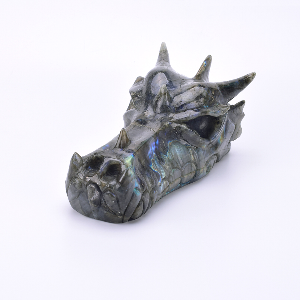 8Natural Labradorite Carved Crystal Dragon Head Skull Figurine Reiki Healing Crystal Skull Sculpture Home Decor Art Collection8Natural Labradorite Carved Crystal Dragon Head Skull Figurine Reiki Healing Crystal Skull Sculpture Home Decor Art Collection