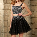 Two Piece Sexy Black Cocktail Dresses 2016 Beading evening Prom Dress Tulle cocktail dress Homecoming Graduation Party Gowns