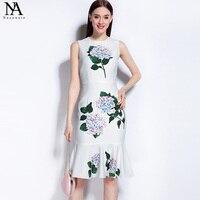 New Arrival 2017 Summer Women S O Neck Sleeveless Floral Printed Ruffles Mermaid Fashion Runway Designer