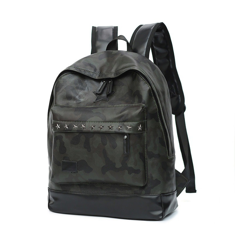 Men Camouflage PU Leather Backpack Rivets High Quality Casual Backpacks Youth School Bag Laptop Backpack Women Backpack 2