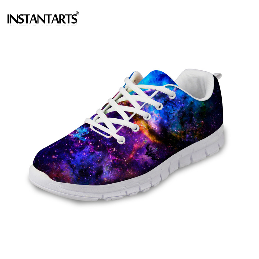 INSTANTARTS Womens Fashion Sneakers Air Mesh Ladies Flats Shoes Galaxy Star Printing Casual Student Plus Size Breathable ShoesINSTANTARTS Womens Fashion Sneakers Air Mesh Ladies Flats Shoes Galaxy Star Printing Casual Student Plus Size Breathable Shoes