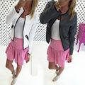 Nueva llegada gris blanco moda vintage gruesa de cuello redondo de manga larga cardigan mujeres suéteres de otoño invierno de punto chaquetas