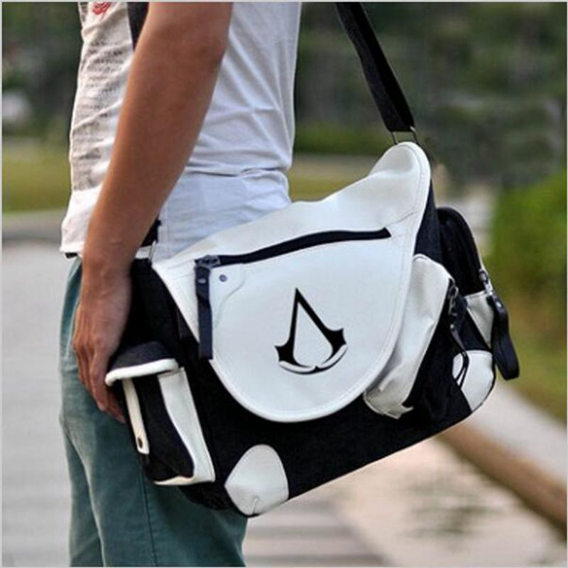 Assassins creed Bags Canvas leather Messenger Shoulder Bag Casual Bag Anime men s and women s