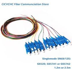 12 Colors SC/UPC-SM(9/125)-G652D, G657A1, G657A2-0.9mm Cable-1.2m or 2.5m / OS2 Optical Fiber Pigtail