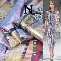 Золотой парчовый Шелковый материал для вечернего платья 3d жаккардовая шелковая марля