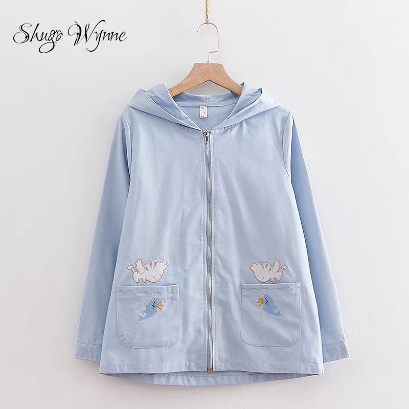 Shugo Wynne Mori Girl Coat 2018 Spring Autumn New Women Preppy Style Hooded Long Sleeve Cute Cat Embroidery Casual Jacket