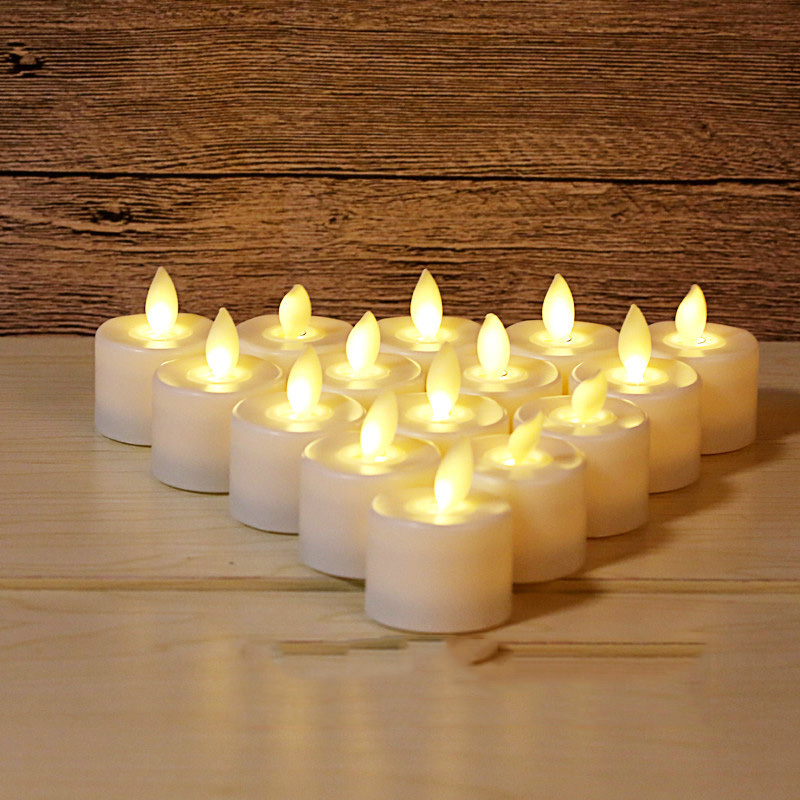 Pack of 6 Warm White Flickering Red LED Candles Plastic Electric Candles Flameless Tea Lights For Christmas Wedding Decoration