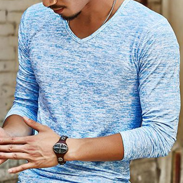 Abstract Slim Fit V-Neck T-Shirt 6