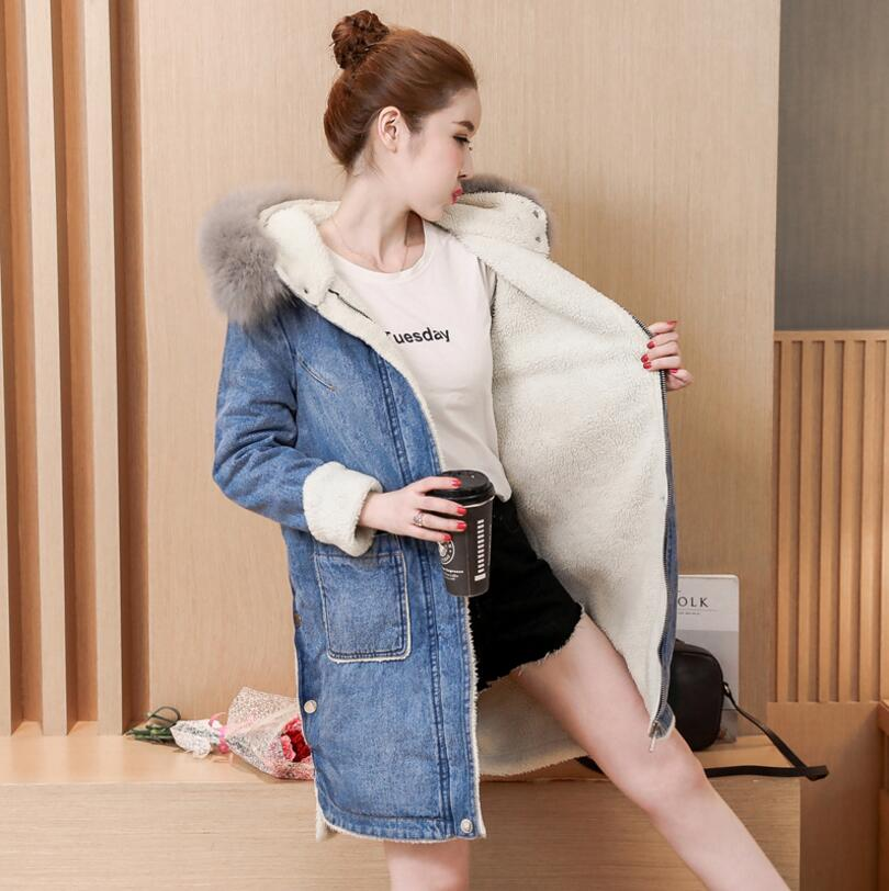 New Autumn Winter Jeans Jacket Women Fur collar hooded Parka Warm Lamb wool Denim Coat Outwear plus size s1305 bishe spring autumn winter new 2017 fur jean denim jacket winter blue women jacket coat with hooded long sleeves warm outwear