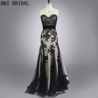 Real Photo Formal Evening Gown Strapless Long Plus Size Elegant Custom Made Black Sexy Evening Dresses