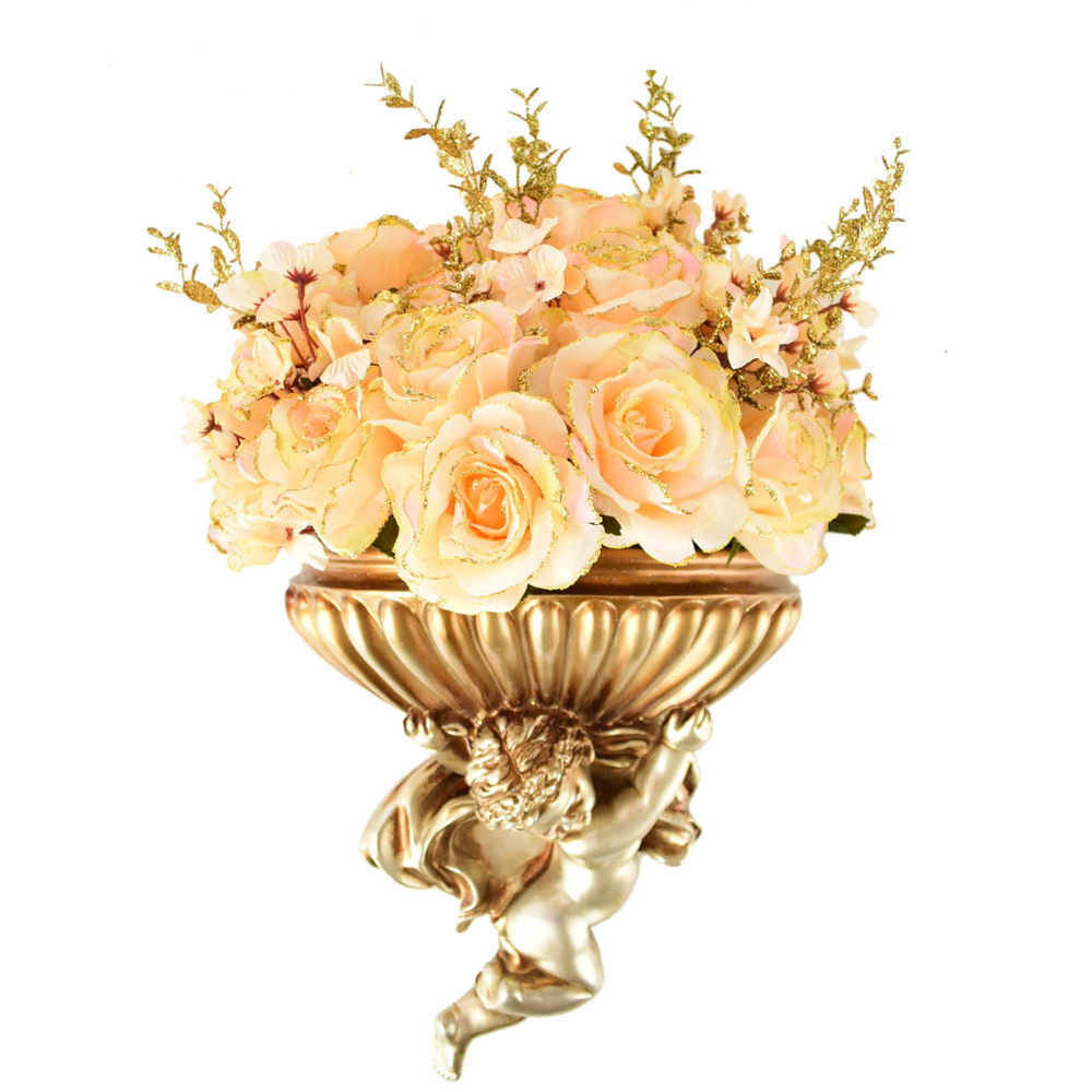 Hanging wall vase With Silk roses artificial flowers bouquets for ...