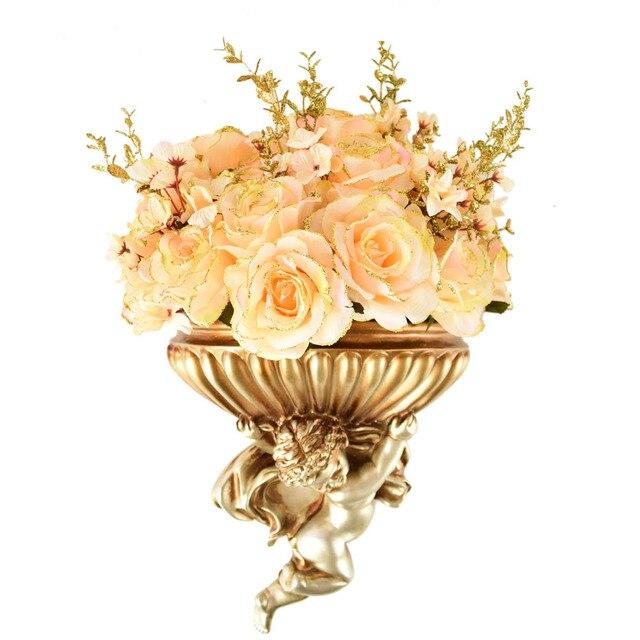 Éponte vase Avec Des roses De Soie artificielle fleurs bouquets pour ...
