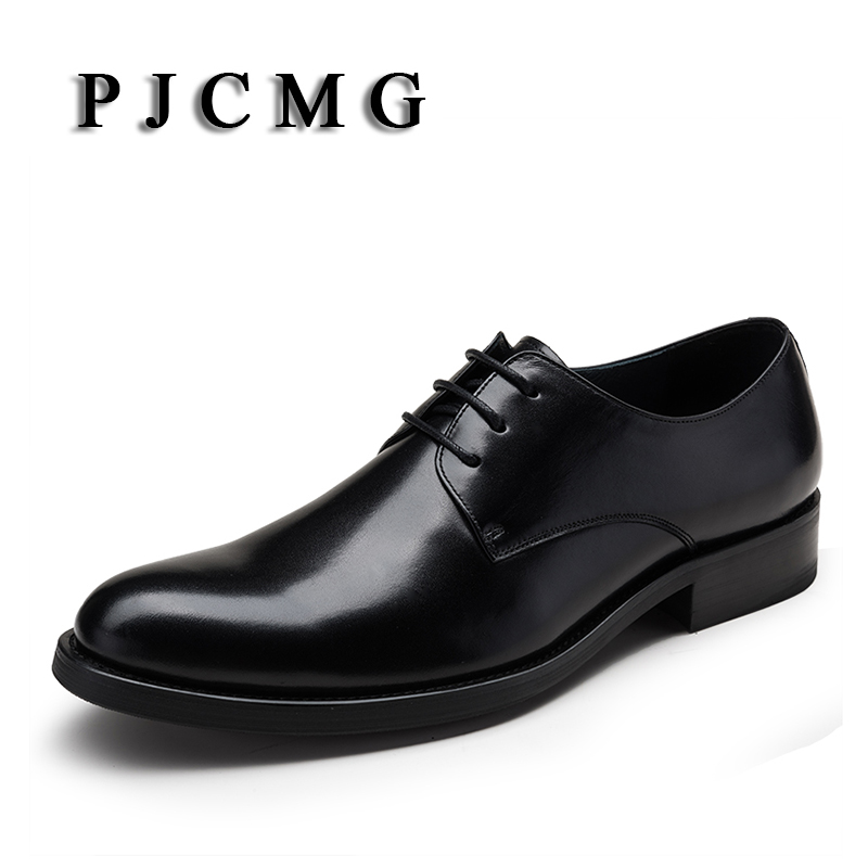 PJCMG Fashion Red/Black Oxfords Mens Business Lace-Up Genuine Leather Pointed Toe Office Dress Formal Mens Wedding Shoes pjcmg fashion high quality wine red black formal oxfords business genuine leather lace up dress breathable mens wedding shoes