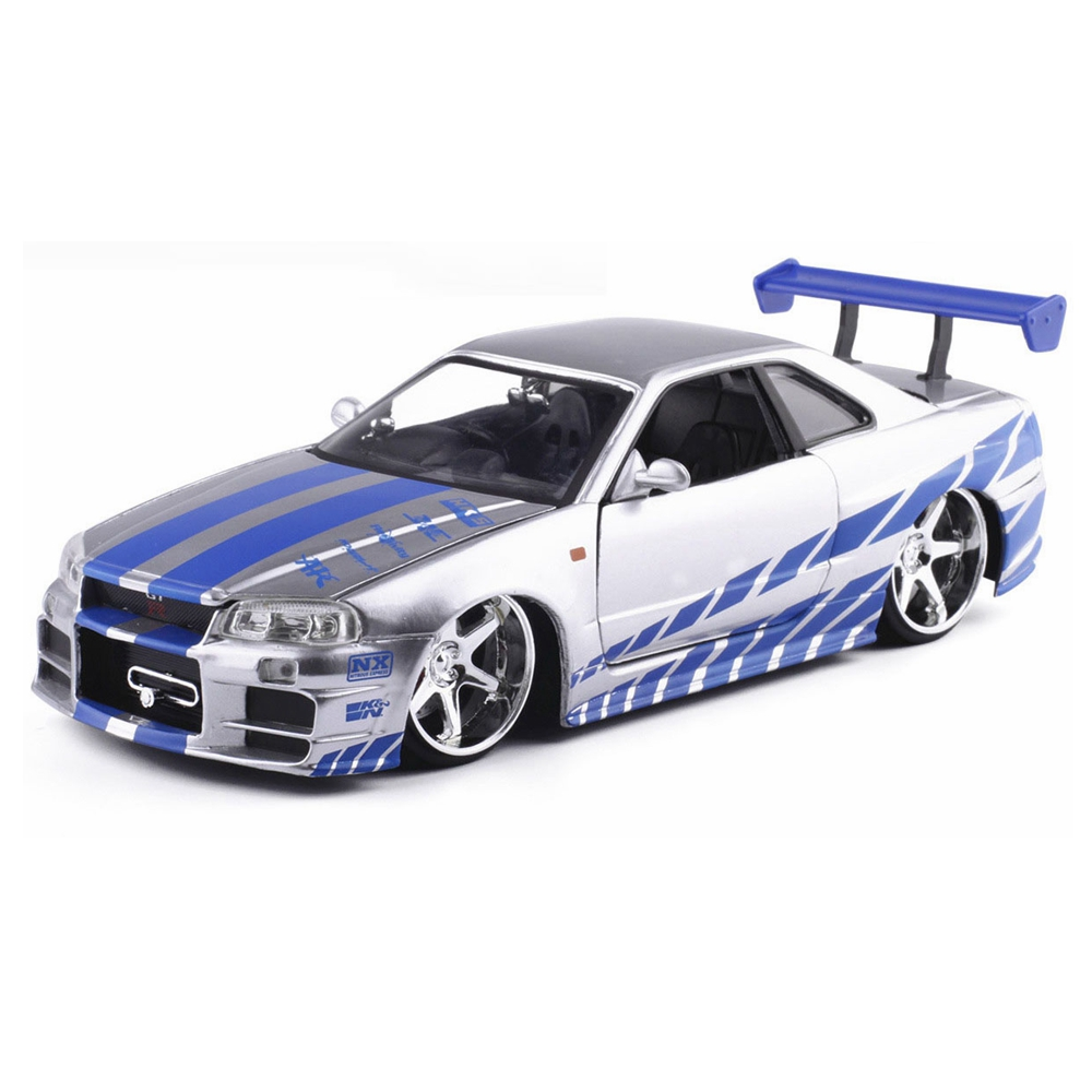 ... 124 Scale Fast U0026 Furious Alloy 2002 Nissan Skyline GTR R34 Toy Cars  Diecast Model Kids ...