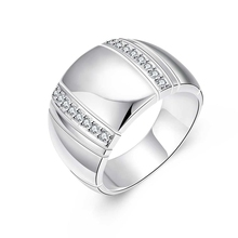Men's 925 Sterling Silver Cubic Zirconia Crystals Inlaid Ring