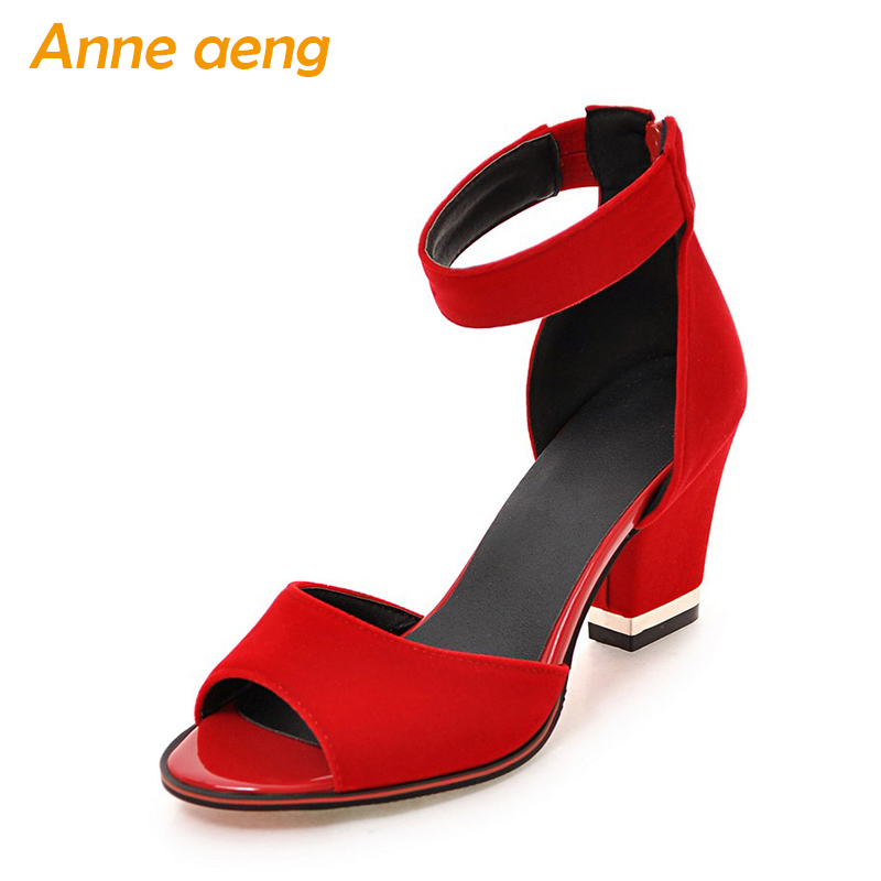 women sandals high heel peep cover heel zip sexy lady Mary Janes open-toe flock sandals red black women shoes size 33-43 2018 new plus big size 33 44 black red peep toe fashion sexy high heel platform spring autumn lady shoes women pumps d1103