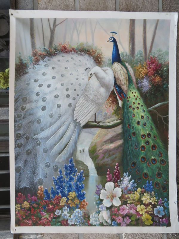 100% peint à la main blanc vert paon fleur eau paysage à la main peinture à l'huile classique animal manuel peinture décoration