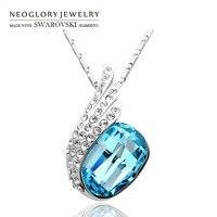 Neoglory österreich kristall & strass anhänger halskette wunderschöne federflügel stil legierung überzogene trendy verkauf für dame