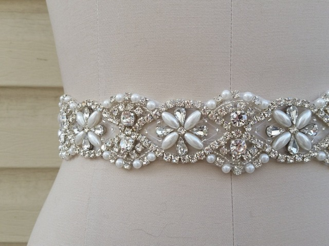 Gorgeous Pearls and Rhinestone Trim And Detailed Bridal Sash Wedding Sash Rhinestone Belt Bridal Belt