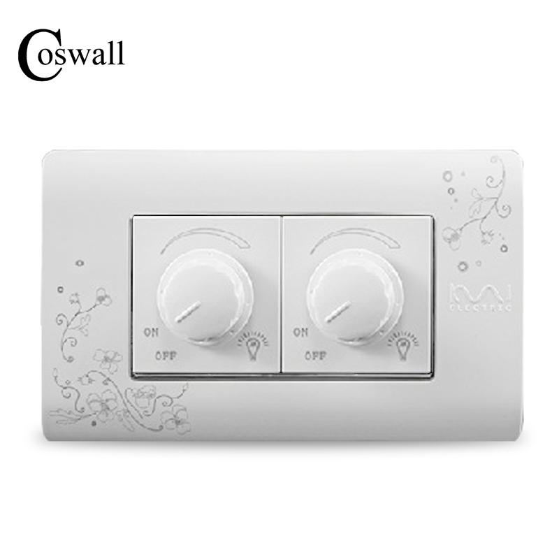 COSWALL Luxury Wall Double Dimmer Regulator Switch 300W Maximum Ivory White Brief Art Pattern Light Switch 118*72mm AC 110~250V