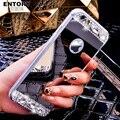 Strass luxo espelho case capa para iphone 7 silicone case diamante tampa traseira casos iphone 7 plus case 4.7 5.5 em ouro rosa