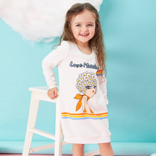 New 2016 Children s dresses Girls Beauty printing Long sleeved round neck dress kid clothing