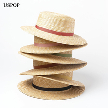 USPOP 2019 new straw sun hat for women summer natural female elegant ribbon beach flat top wide brim