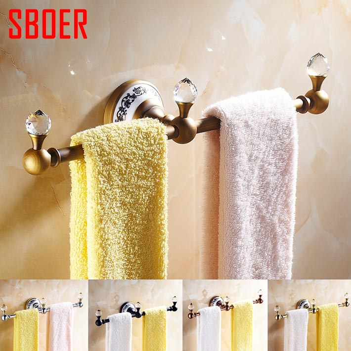 Buy solid brass 36 cm bathroom towel bar hook ceramic base crystal ball for Ceramic towel hooks for bathrooms