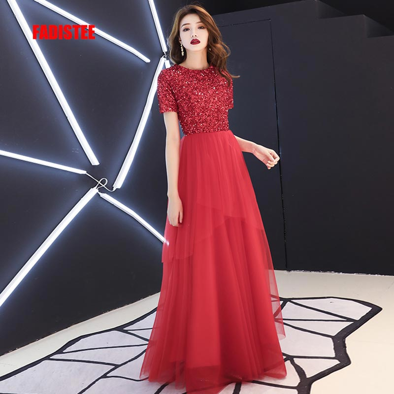 FADISTEE New Arrival Vestido De Festa Long Evening Dress Bride Party Prom Dresses O-neck Sequins Red Half Sleeves Tulle 2019