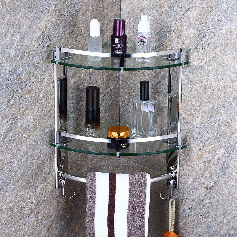Glass Stainless Steel Frame With Towel Rack 1/2/3layer Bathroom Accessories Corner Shelves Wall Mounted HGN