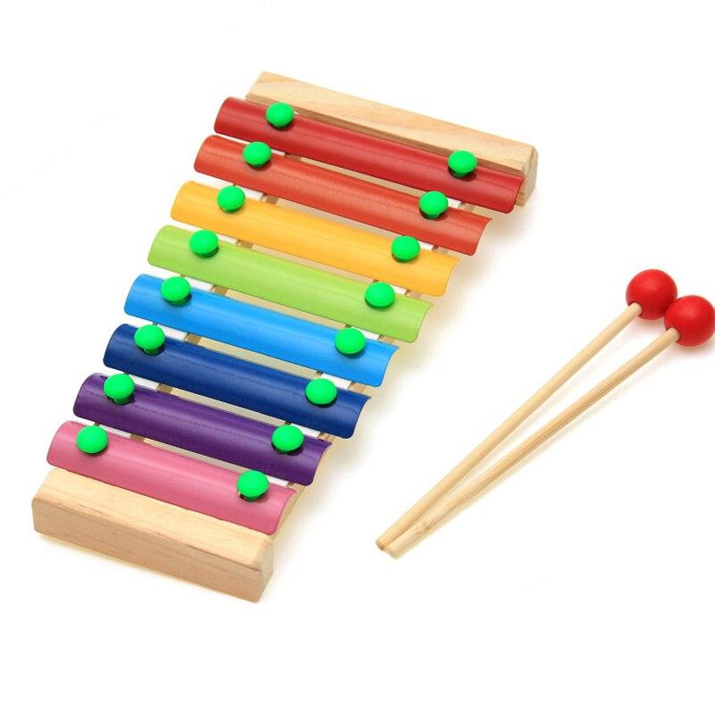 Ksilofon Hikmet Juguetes Müzik Enstrüman Perakende Çocuk Çocuk Bebek 8-Note Ahşap Ksilofon Müzik Oyuncaklar WJ328