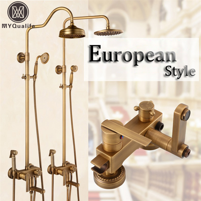 Retro Style In wall Single Handle Bath Shower Faucet Set with Bidet Sprayer Head Brass 8 Rain Shower Mixers Rotate Tub Spout