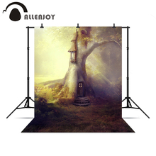 Allenjoy Photo background Tree light forest children baby fairy tale tree house Christmas presents professional camera