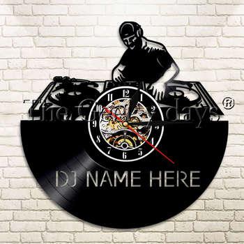 Horloge Déco Hip Hop Vinyle LED Nom personnalisé DJ
