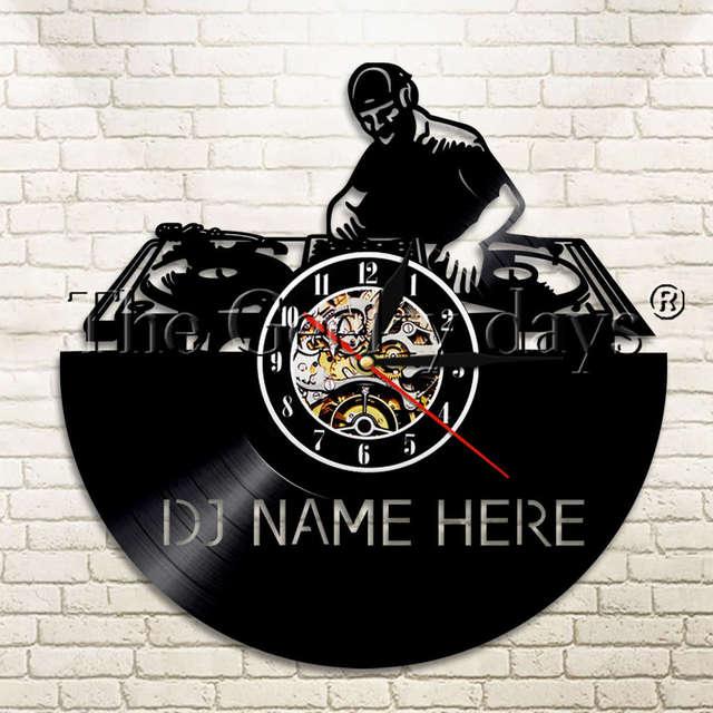 1 stuk dj creatieve lp vinyl wandklok muziek led verlichting gepersonaliseerde 12 disco aanpassen naam