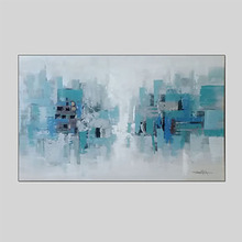 Фотография IARTS Large Canvas Wall Art 100% Hand Painted Fashion Abstract Blue Oil Painting Perfect for Living Room Modern Home Decor