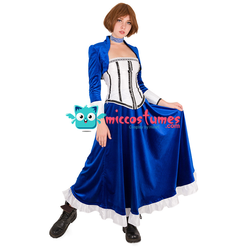 Bioshock Infinite Elizabeth Cosplay Costume Blue Long Dress