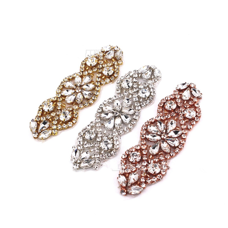 1pcs Applique Trim Crystal Rhinestone Beaded Sew Iron on Bridal Costume Crafts Handmade Girdle Cummerbunds New BBB0593