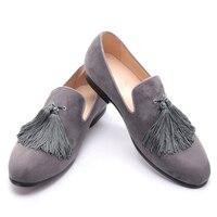 Màu đen và màu xám màu nhung men giày handmade với tinh tế tassel đảng men giày đế cộng với kích thước đàn ông ăn mặc giày