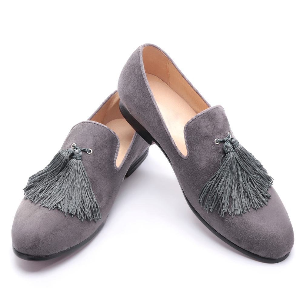 black and gray color velvet men handmade shoes with exquisite tassel party men loafers plus size mens dress shoes