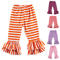 Kikikids Retail Colors Knit Cotton Striped Baby Pants,girl Pants,children Ruffle Pants Girl Legging Kids Trousers Free Shipping