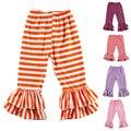 Kikikids Varejo Cores Malha de Algodão Listrado Calças Do Bebê, Calças da menina, crianças Ruffle Calças Menina Legging Crianças Calças Livre grátis